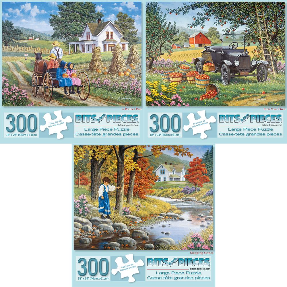 Set of 3: Preboxed John Sloane 300 Large Piece Jigsaw Puzzles