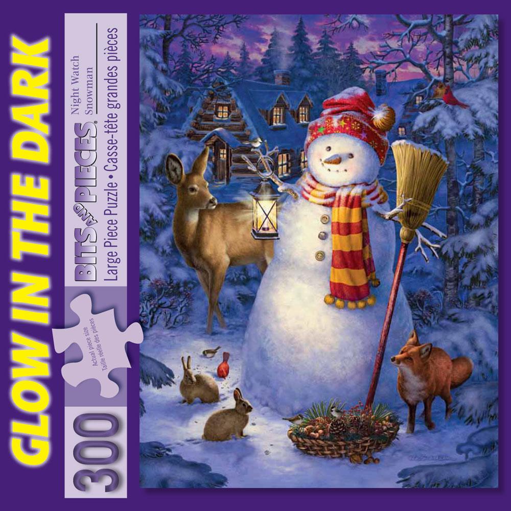 Night Watch Snow Man 300 Large Piece Glow-In-the-Dark Jigsaw Puzzle