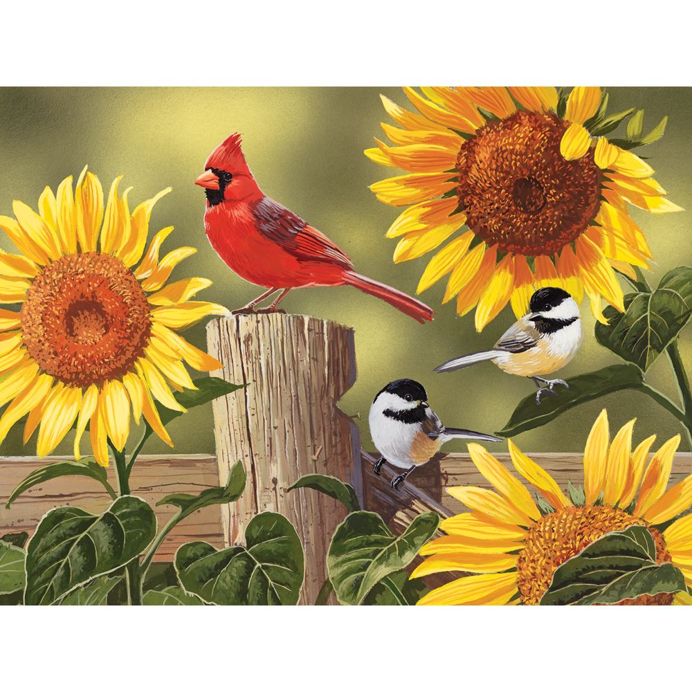 Sunflowers and Songbirds 500 Piece Jigsaw Puzzle