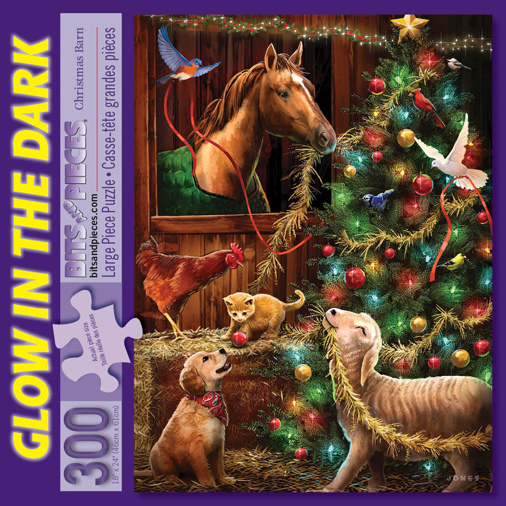 Christmas Barn 300 Large Piece Glow-in-the-Dark Jigsaw Puzzle