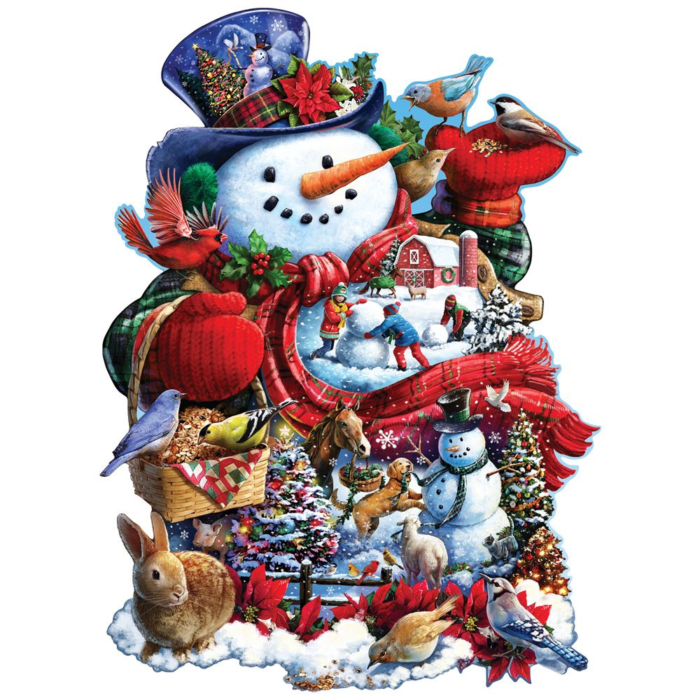 Happy Holiday Snowman 300 Large Piece Shaped Jigsaw Puzzle