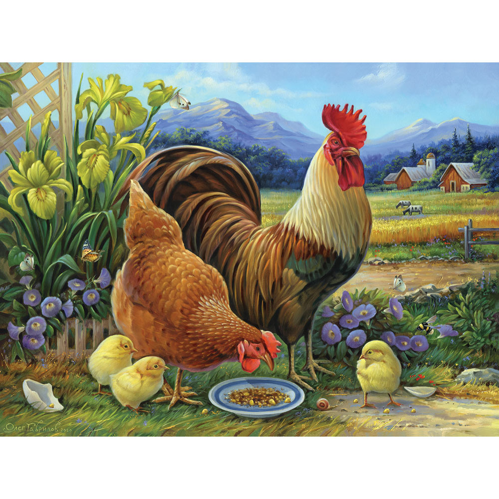 Amber Rooster And Family 500 Piece Jigsaw Puzzle