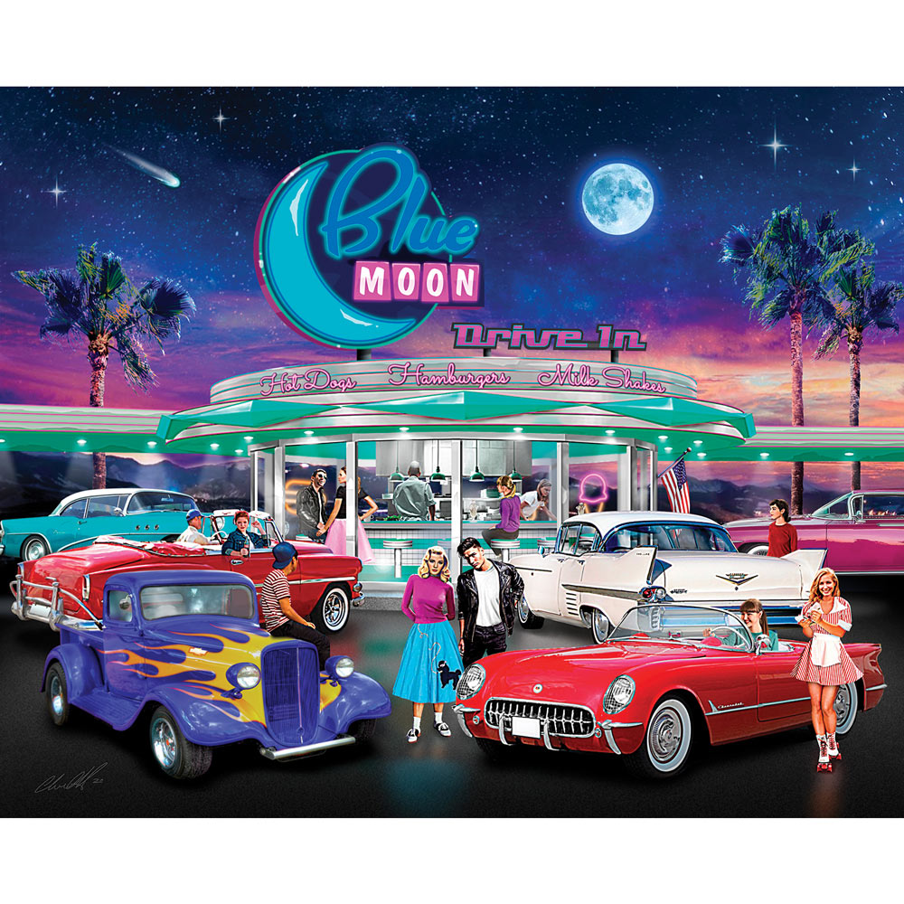 Blue Moon Drive In 500 Piece Jigsaw Puzzle
