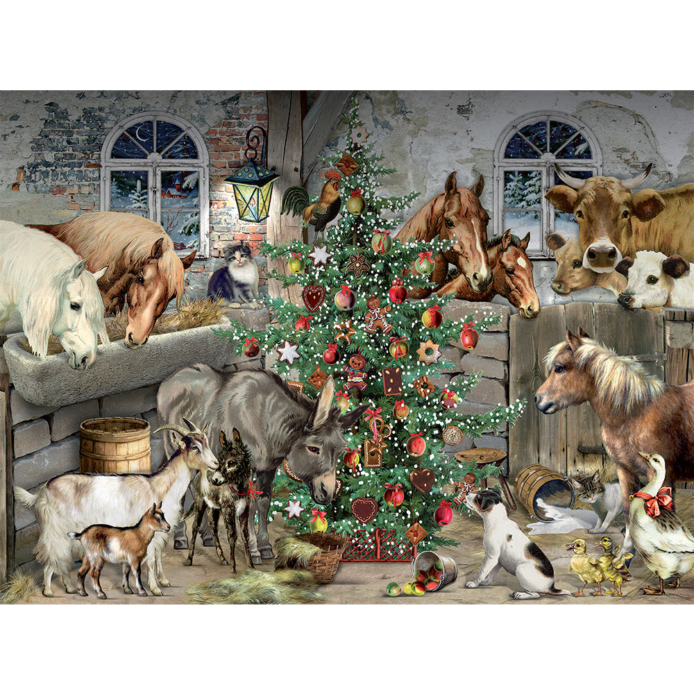 Christmas In The Barn 1000 Piece Glitter Jigsaw Puzzle