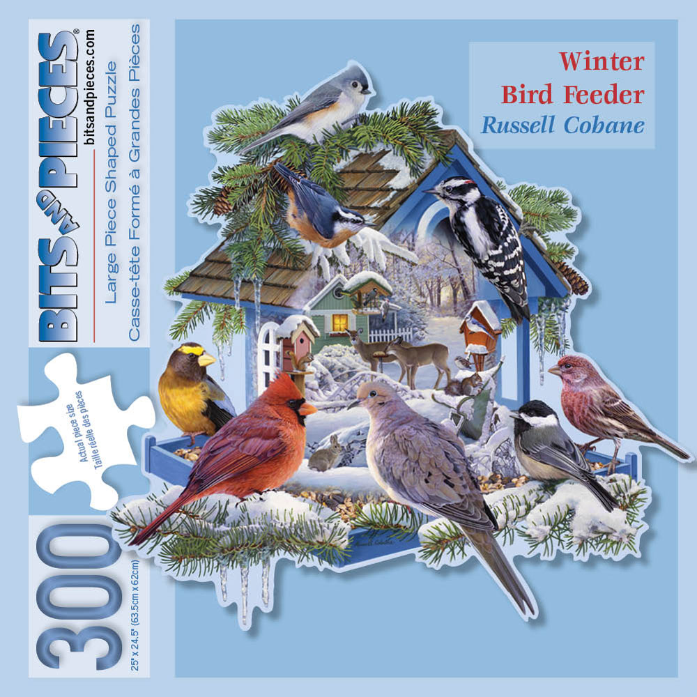 Winter Bird Feeder 300 Large Piece Shaped Jigsaw Puzzle