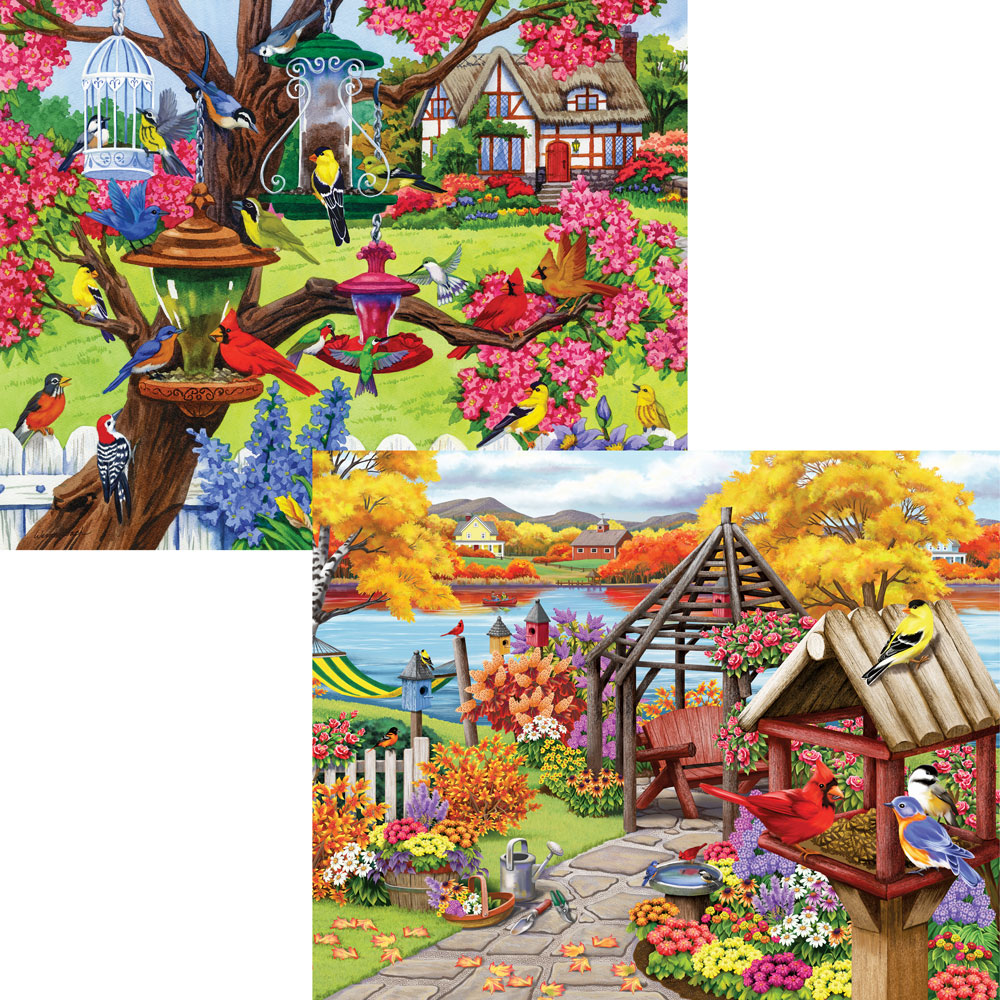 Rustic Gardens 500 Piece 4-in-1 Multi-Pack Puzzle Sets