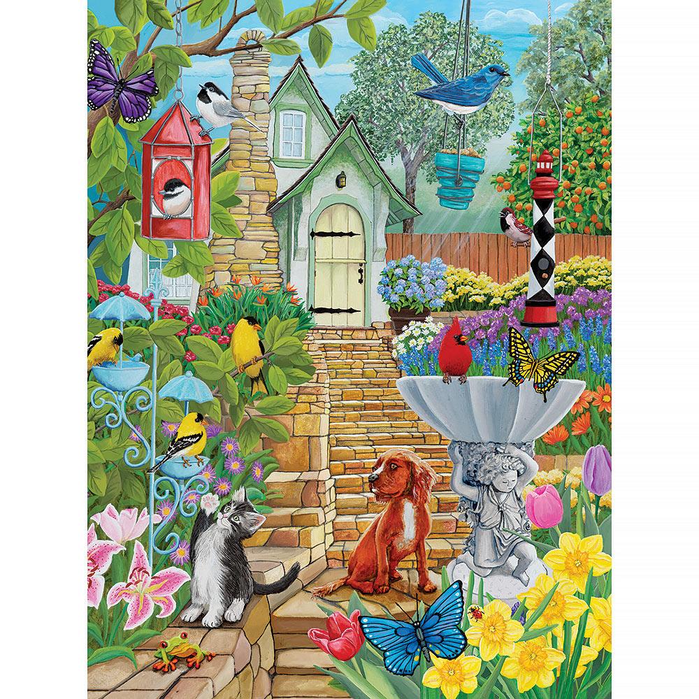 Vintage Birdfeeder Garden 300 Large Piece Jigsaw Puzzle