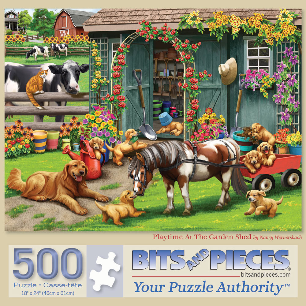Playtime At The Garden Shed 500 Piece Jigsaw Puzzle