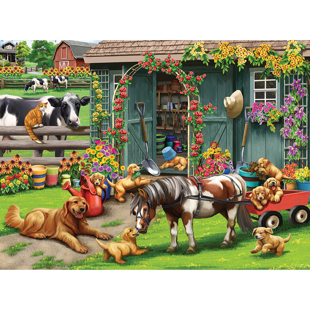 Playtime At The Garden Shed 1000 Piece Jigsaw Puzzle