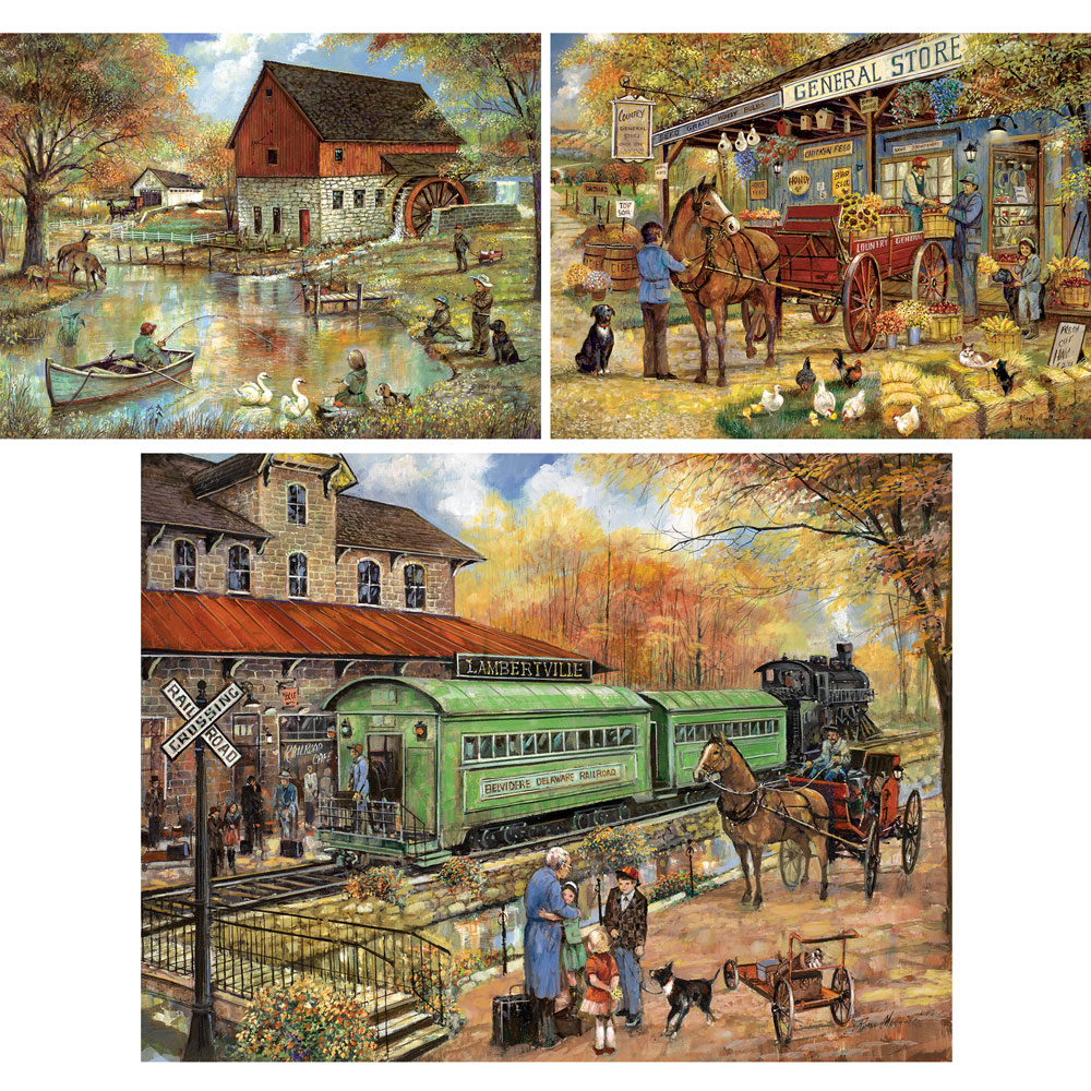 Preboxed Set of 3: Ruane Manning 300 Large Piece Jigsaw Puzzles