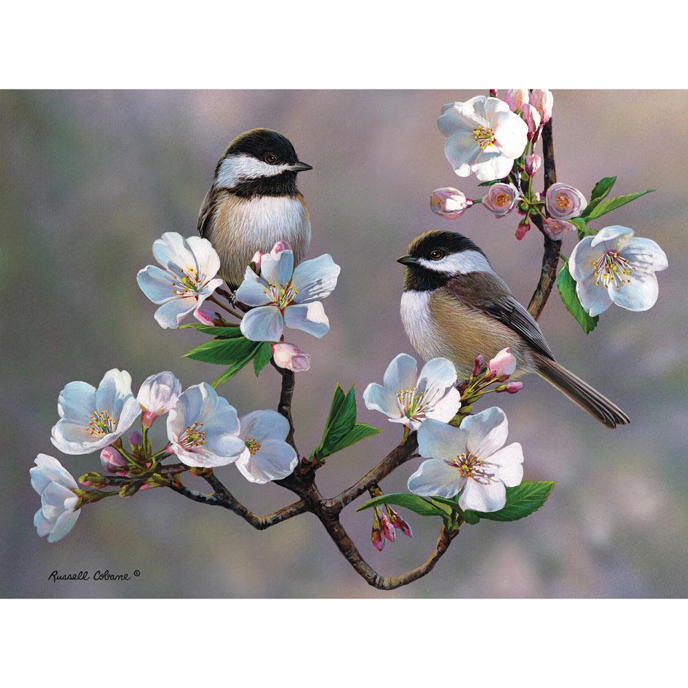 Cherry Blossom Chickadees 500 Piece Jigsaw Puzzle