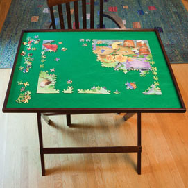 Jigsaw Foldaway Table - Walnut Tone