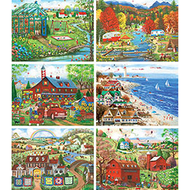 Set of 6: Mary Ann Vessey 1000 Piece Jigsaw Puzzles