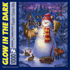 Night Watch Snow Man 1000 Piece Glow-In-the-Dark Jigsaw Puzzle