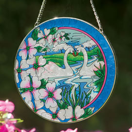 Swans Art Glass Suncatcher