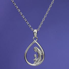 Mother & One Child Sterling Pendant Necklace