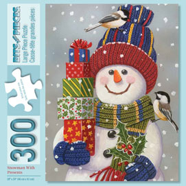 Snowman with Presents 300 Large Piece Jigsaw Puzzle