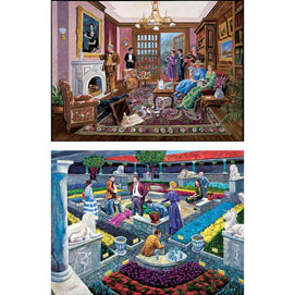 Set of 2: Murder Mystery 1000 Piece Story Jigsaw Puzzles