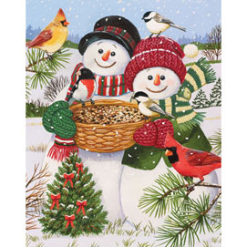 Snow Couple Feeding the Birds 100 Large Piece Jigsaw Puzzle