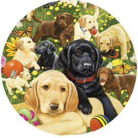 Lab Puppies Playing 300 Large Piece Round Puzzle