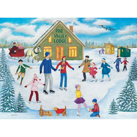 Pine Valley Lodge Skating 300 Large Piece Jigsaw Puzzle