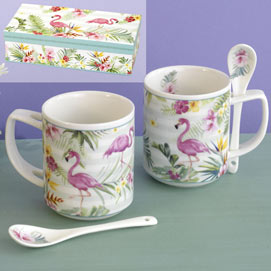 Set of 2: Ceramic Flamingo Mug & Spoon