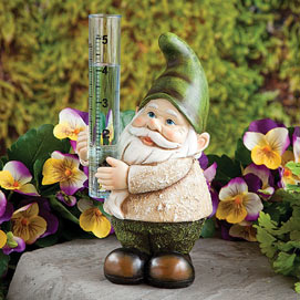 Gnome Rain Gauge Garden Sculpture