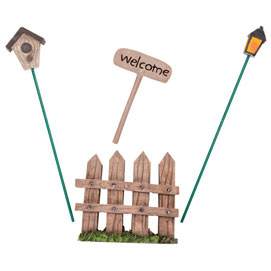 Fence, Welcome Sign, Birdhouse and Lantern Stakes