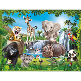 Jungle Animal Club 100 Large Piece Jigsaw Puzzle