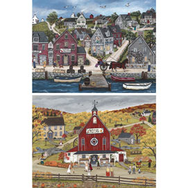 Set of 2: Sharon Ascherl 300 Large Piece Jigsaw Puzzles