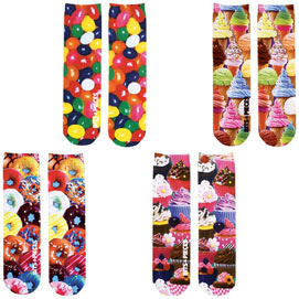 Set of 4: Sweet Treats Colorful Printed Crew Socks Collection