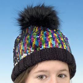 Sequined Pom-Pom Cap