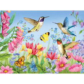 Hummingbirds and Butterflies 300 Large Piece Jigsaw Puzzle