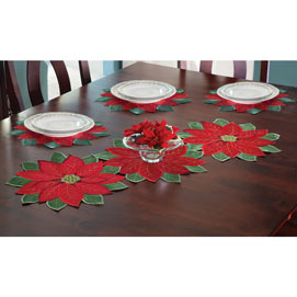 Set of 4: Poinsettia Placemats - 14-1/2