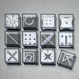 Set of 12: Metal Marble Maze Games