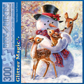 Snowman and Fawn 300 Large Piece Glitter Effects Jigsaw Puzzle