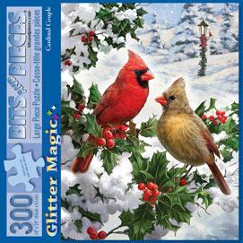 Cardinal Couple 300 Large Piece Glitter Effects Jigsaw Puzzle