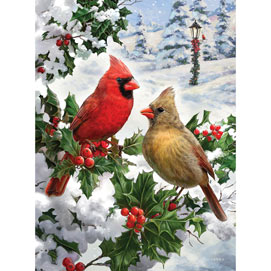 Cardinal Couple 1000 Piece Glitter Effects Jigsaw Puzzle