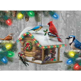 Festive Feathered Friends 500 Piece Glow-In-the-Dark Jigsaw Puzzle