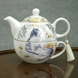 Tea for One - Cats Teapot & Cup Gift set