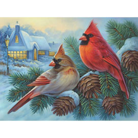 Winter Cardinals 300 Large Piece Jigsaw Puzzle