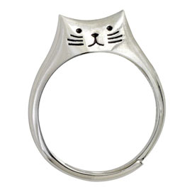 Sweet Sterling Cat Ring -  Large