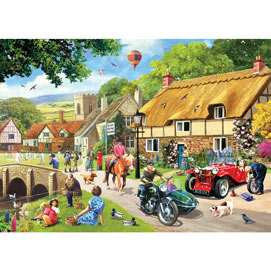 A Busy Day In The Village 500 Piece Jigsaw Puzzle
