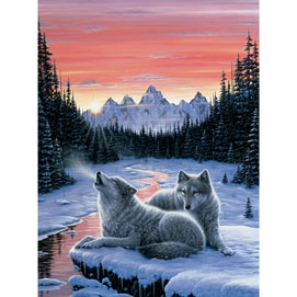 Winter's Dawn 500 Piece Glow-In-the-Dark Jigsaw Puzzle