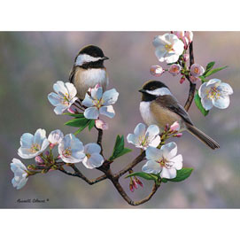 Cherry Blossom Chickadees 300 Large Piece Jigsaw Puzzle