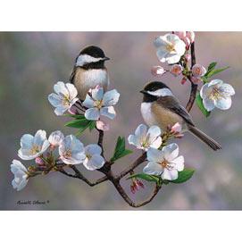 Cherry Blossom Chickadees 1000 Piece Jigsaw Puzzle