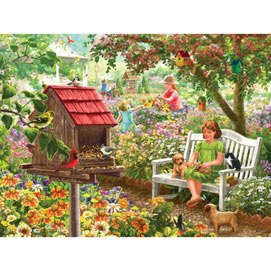 Summer Garden Bird Feeder 300 Large Piece Jigsaw Puzzle