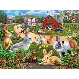 Strawberry Bunnies 1000 Piece Jigsaw Puzzle