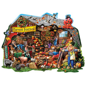 Fall Harvest Barn 750 Piece Shaped Jigsaw Puzzle