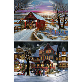Set of 2: The Joys of Christmas 500 Piece Jigsaw Puzzles